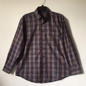 Men's Alan Flusser MED Long Sleeve Plaid Shirt